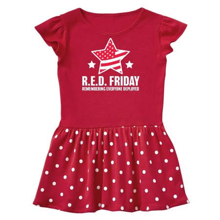 Red Friday Remembering Everyone Deployed with Red American Flag Toddler Dress