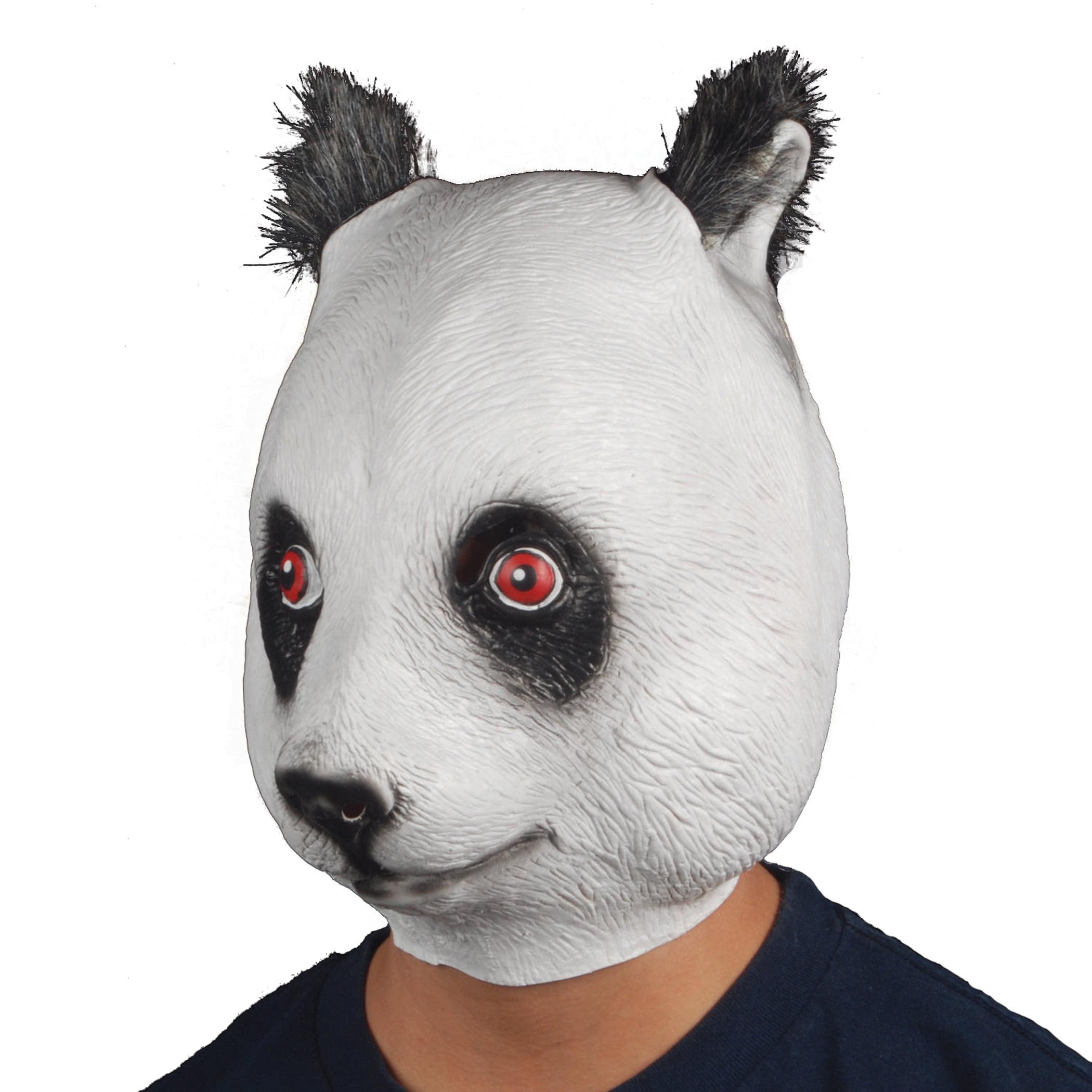 Star Power Men Panda Animal Head Mask, Black White, One Size