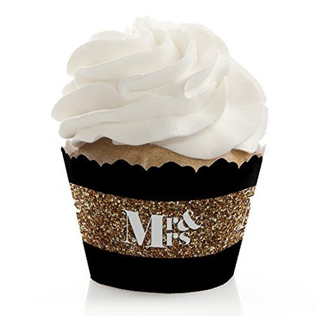 Mr. & Mrs. - Gold - Wedding Cupcake Wrappers - Set of 12](Mustache Cupcake Wrappers)