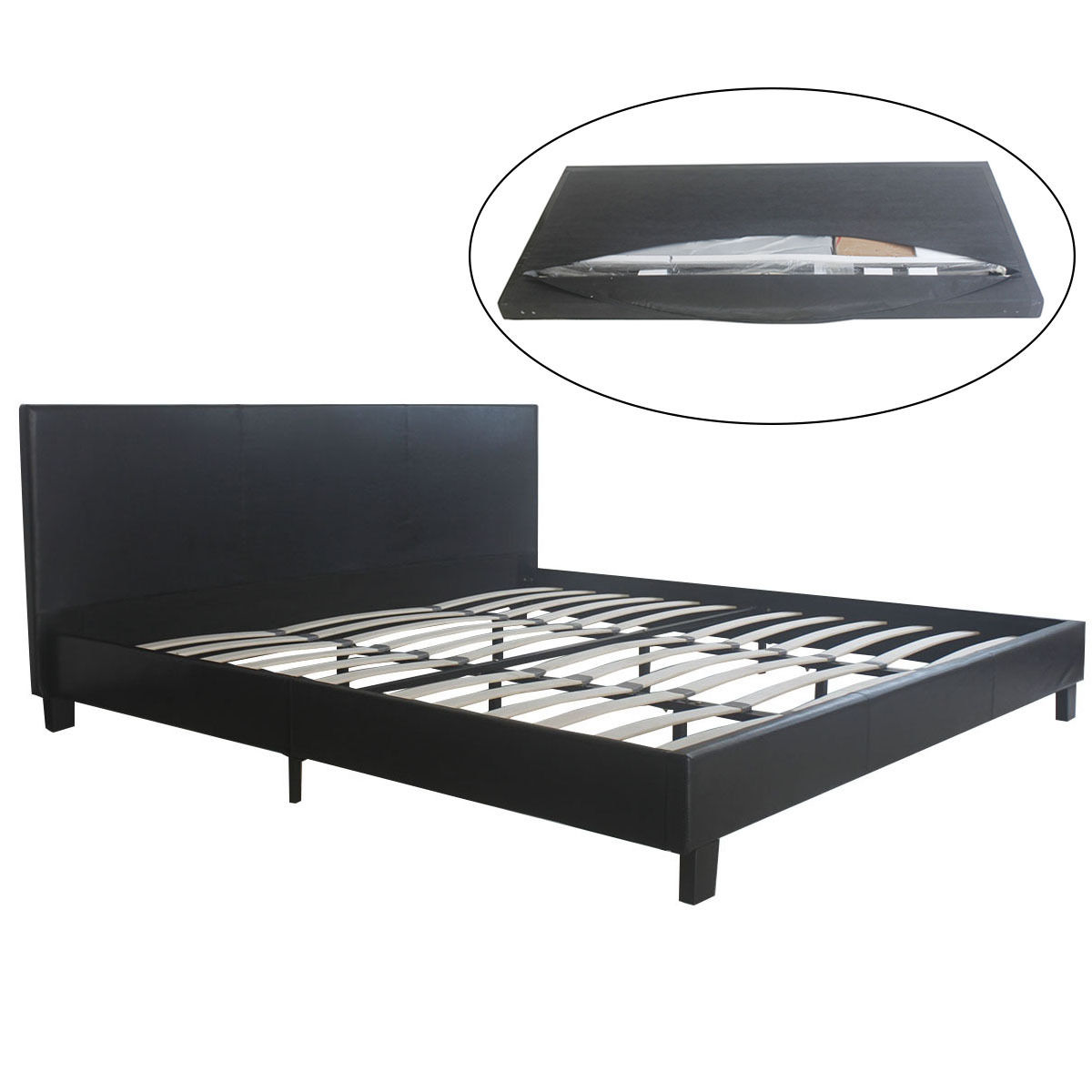 costway faux leather platform bed king size wooden slats upholstered headboard black