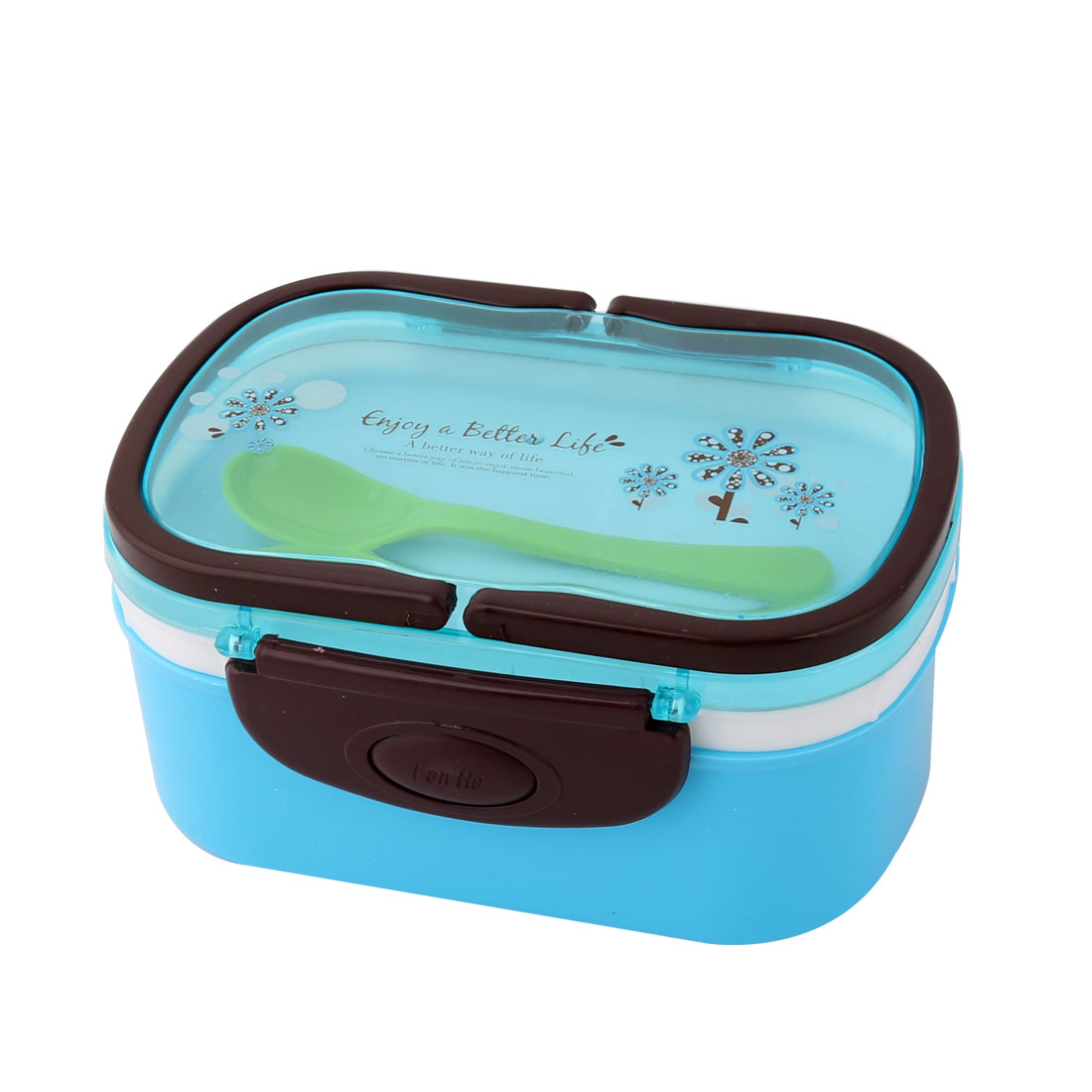 Household Outdoor Plastic Flower Pattern Handle Food Container Lunch Box Blue