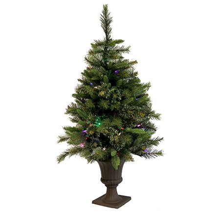 35 pre lit battery operated cashmere potted christmas tree multi led lights - Battery Operated Christmas Trees