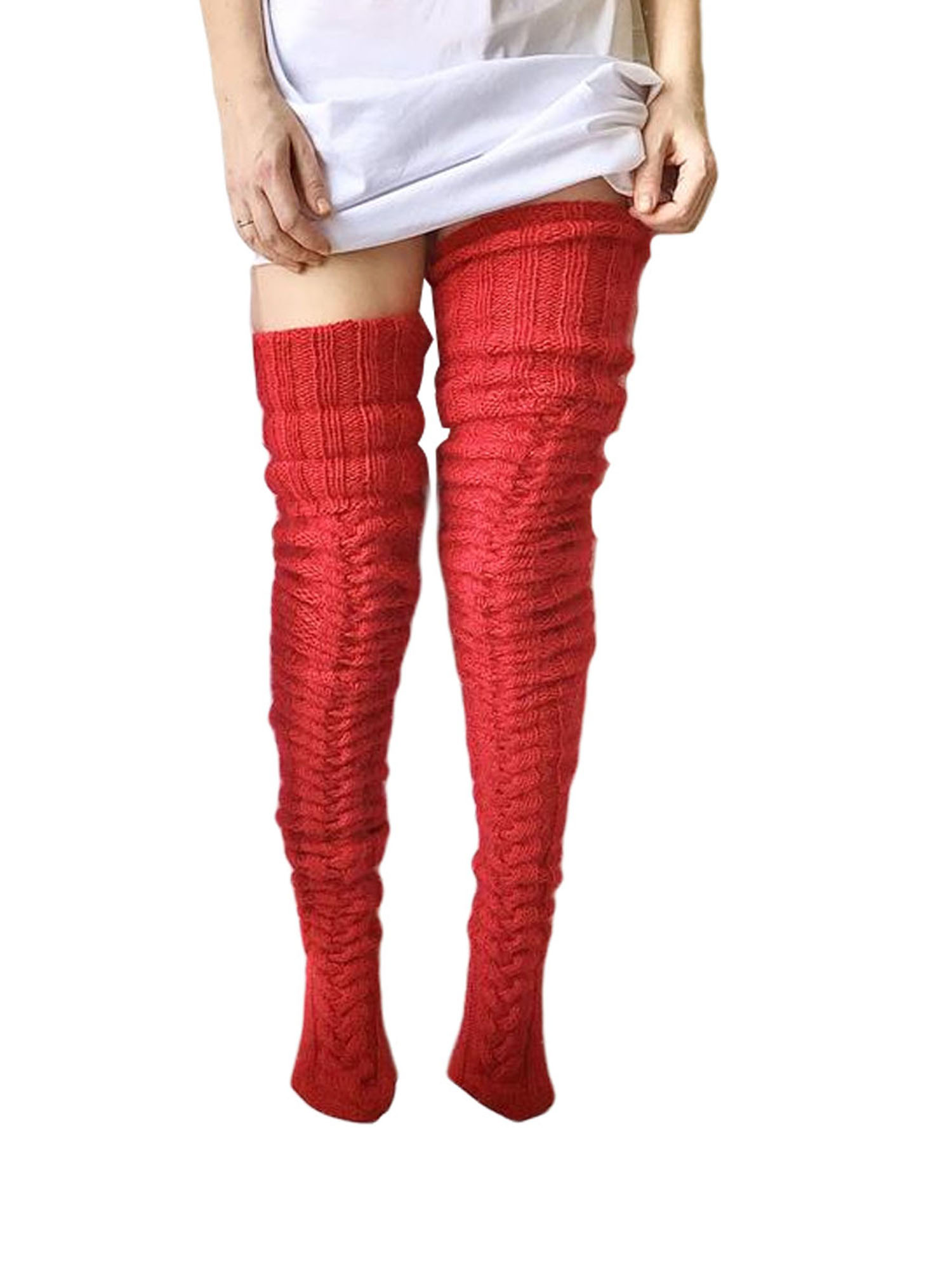 Women Soft Winter Warm Cable Knit Over knee Long Boot Thigh High Socks Stockings