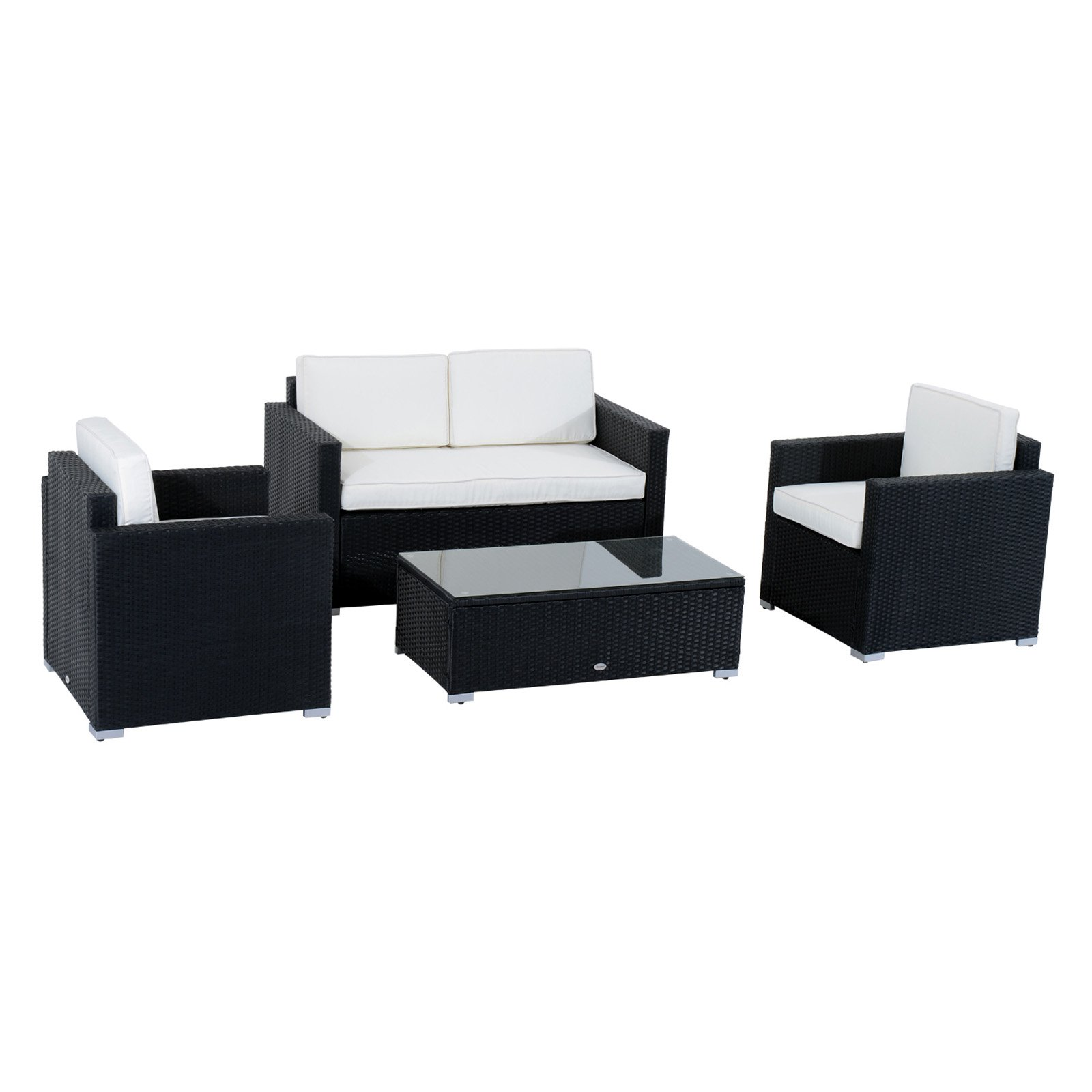Outsunny 4 Piece Cushioned Outdoor Rattan Wicker Sofa Sectional Patio Furniture Set by Aosom LLC