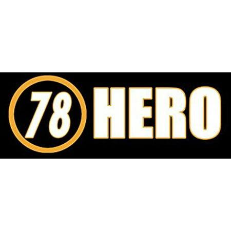 #78 HERO Sticker Decal(flag anthem steelers 78 Alejandro Villanueva) 3 x 8 inch - Steelers Stickers