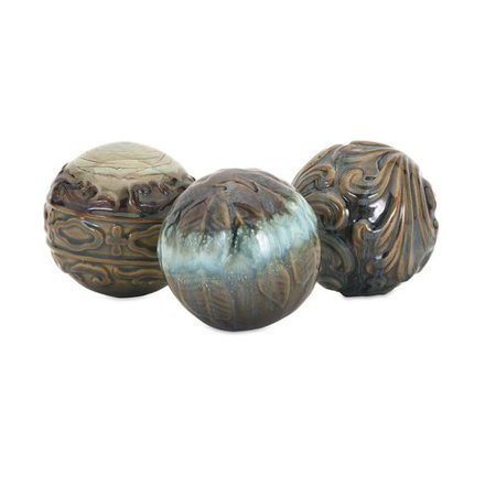 - Fleur De Lis Living Goudy Creatively Embossed Ceramic Spheres in Earthy Hued 3 Piece Sculpture Set