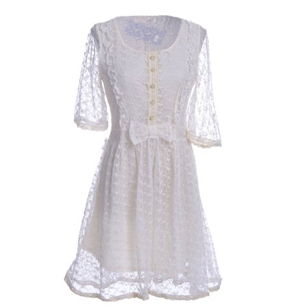 S/M Fit Beige Vine and Leaves Lace Overlay Ruffle and Bow Trim Dress