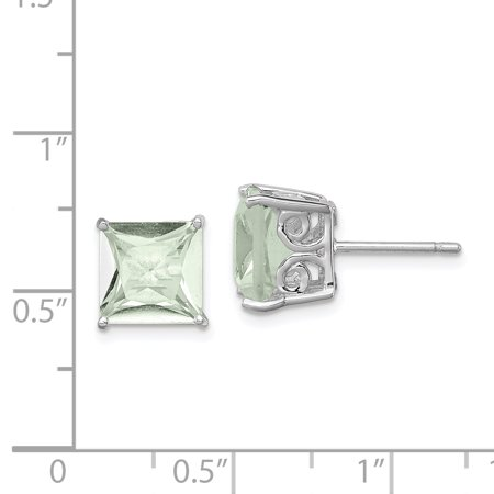 925 Sterling Silver Green Quartz Post Stud Earrings Gemstone Fine Jewelry For Women Valentines Day Gifts For Her - image 3 de 6