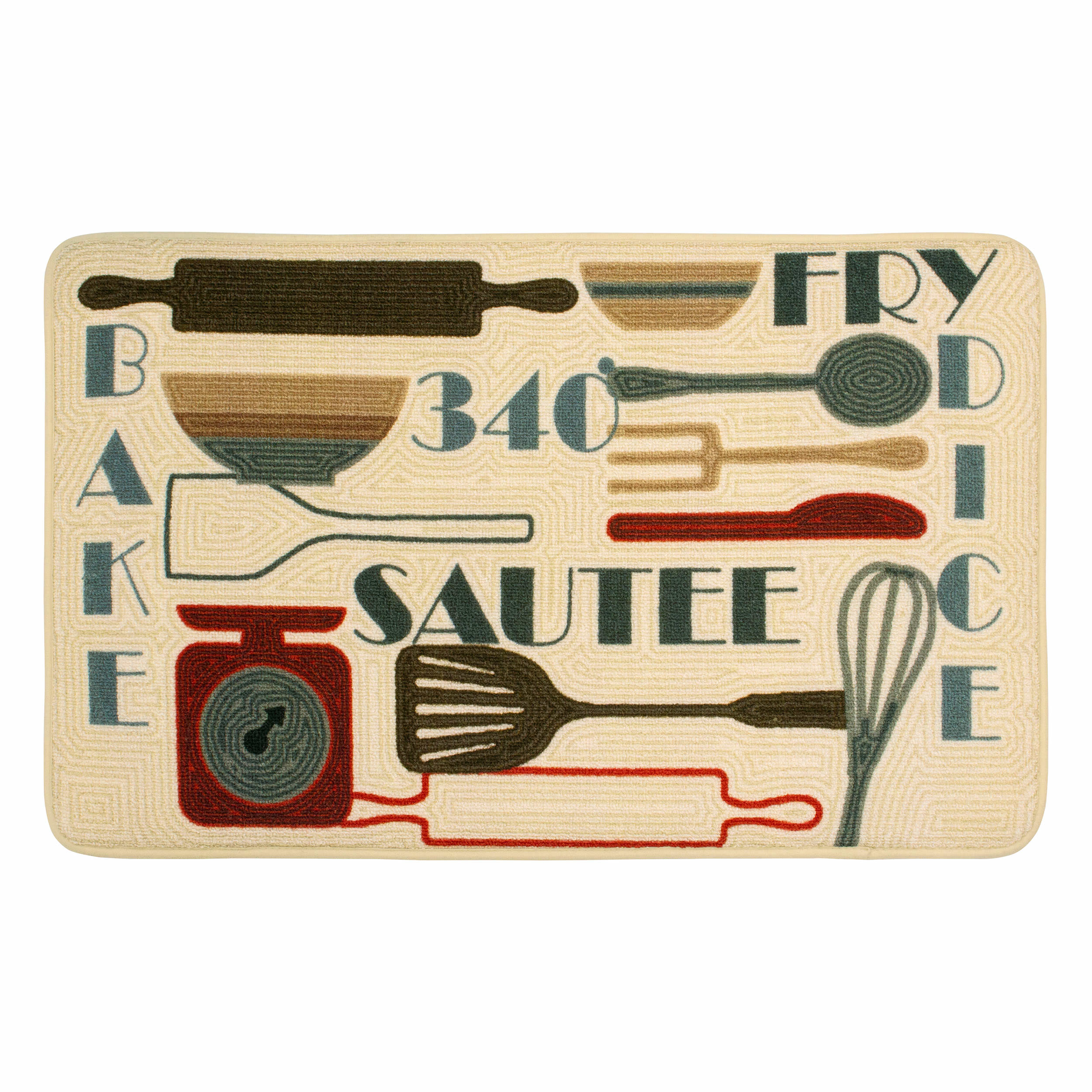 Chef Gear HD Printed 20 x 32 in. Retro Utensils Kitchen Rug, Beige