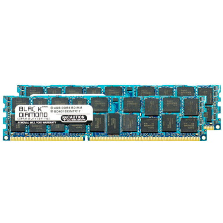 8GB 2X4GB Memory RAM for HP ProLiant Series ML350 G6 Special Server, ML370 G6, ML370 G6 Base, ML370 G6 Entry, WS460c G6 Workstation Blade 240pin PC3-10600 1333MHz DDR3 RDIMM Black Diamond Memory Mod