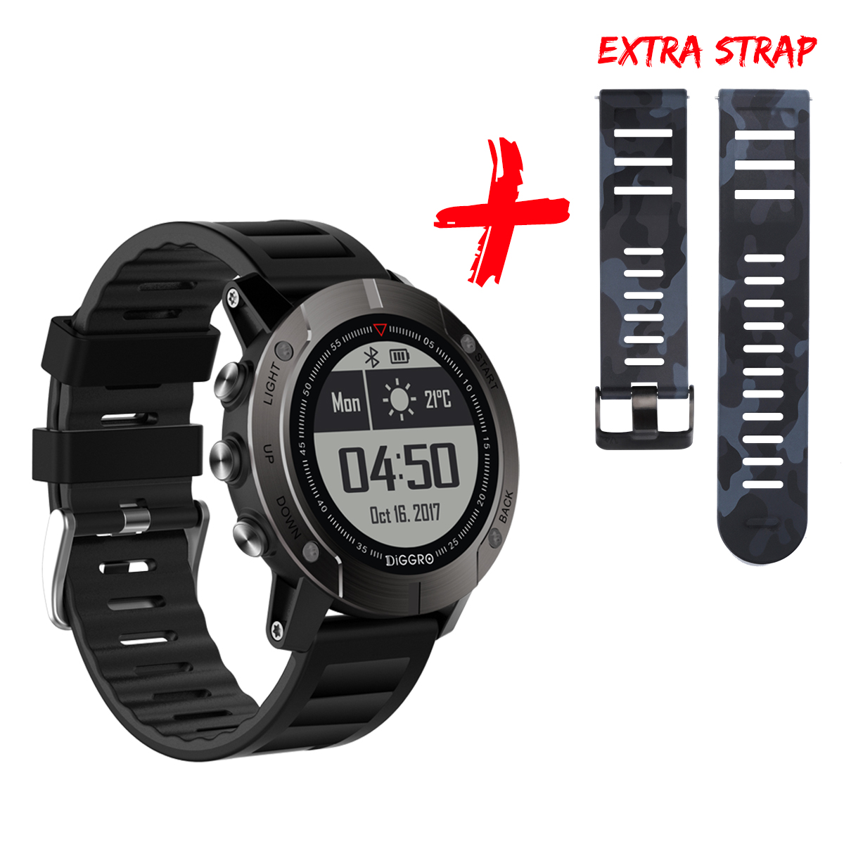 Diggro DI08 GPS Smart Watch, Outdoor Fitness Tracker 30 Meter IP68 Waterproof Backlight Multiple Sport Modes Heart Rate Monitor for Android/IOS, Black
