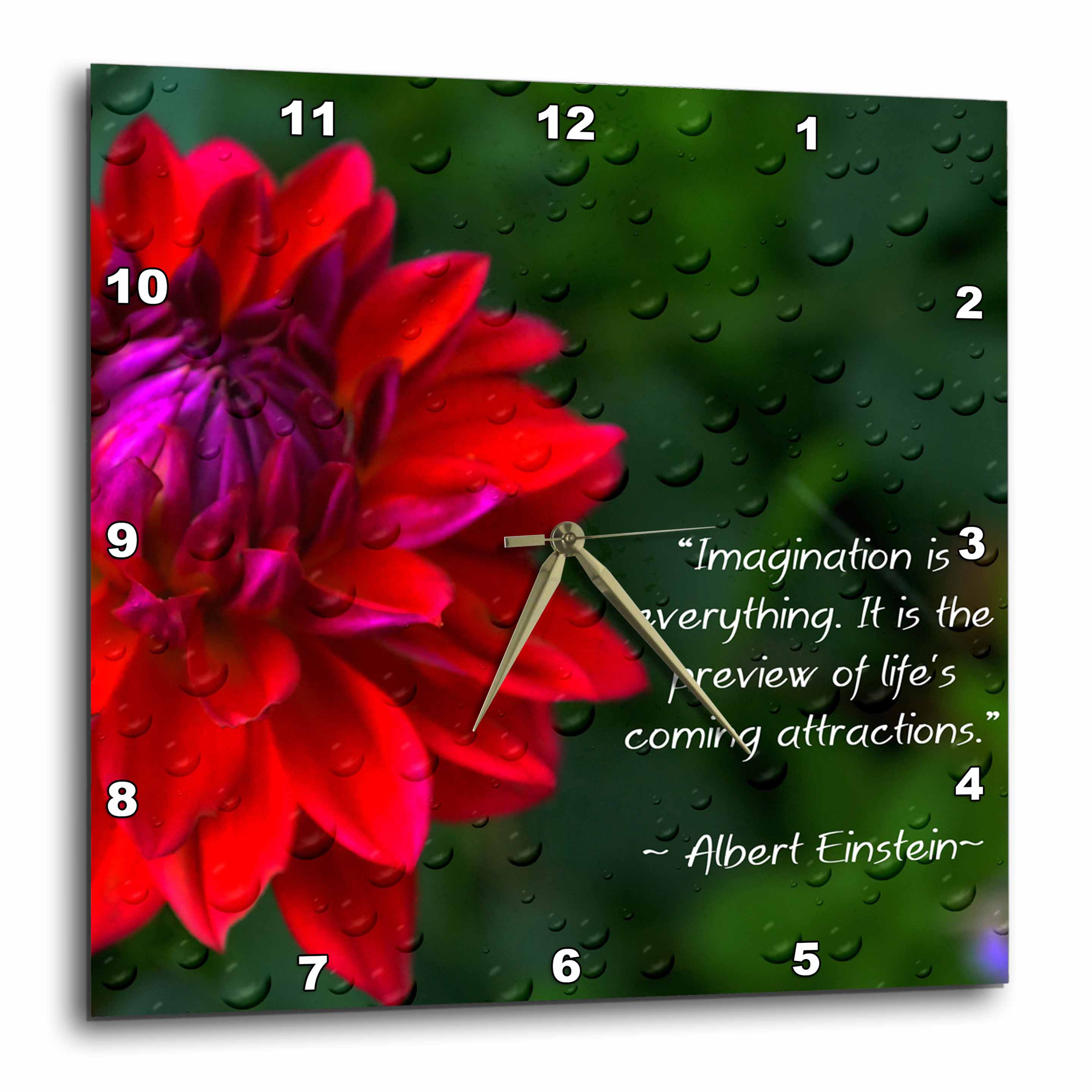 3dRose An Inspirational print with a quote by Albert Einstein and a beautiful dahlia flower, Wall Clock, 10 by 10-inch