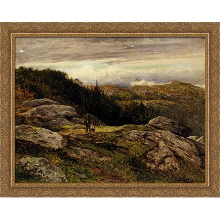 Hillside Path (A Welsh Hillside Path 36x28 Large Gold Ornate Wood Framed Canvas Art by Benjamin Williams Leader )