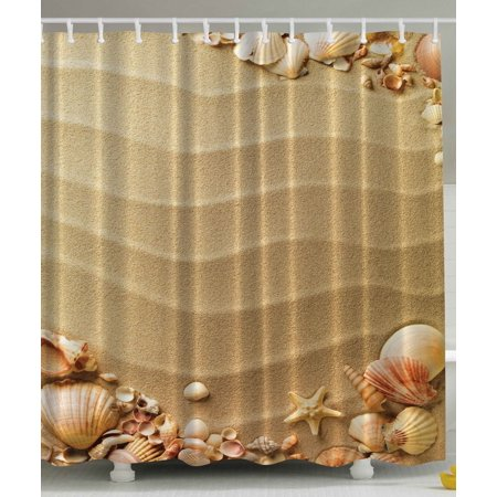 Beach Seashells Shower Curtain Extra Long 84 Inch