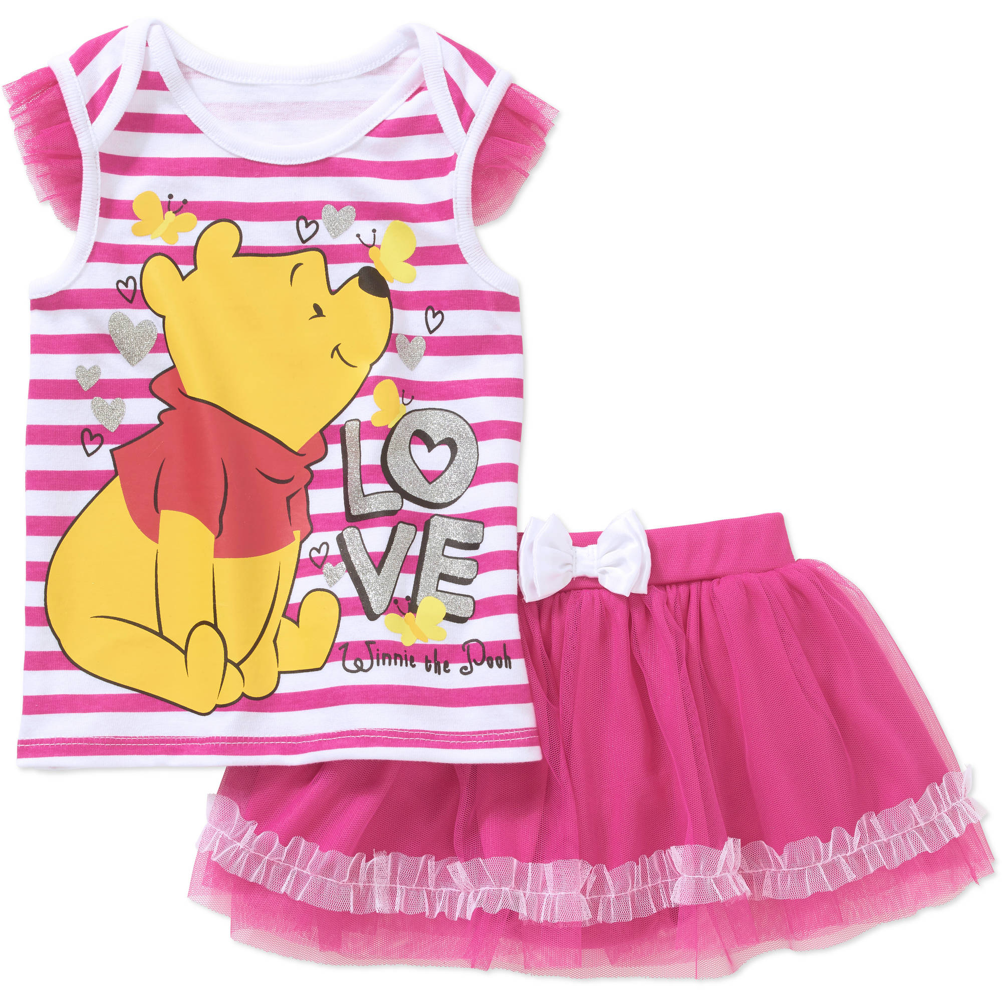 Winnie the Pooh Newborn Baby Girl License Flutter Sleeve Top and Scooter 2 Piece Set