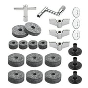 23pcs Cymbal Replacement Accessories Drum Parts with Cymbal Stand Felts Drum Cymbal Felt Pads Include Wing Nuts Washers Cymbal Sleeves and Drum Key