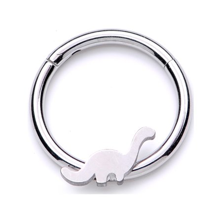 Body Candy Unisex 16G Steel Hinged Segment Ring Seamless Cartilage Septum Ring Dinosaur Nose Hoops 3/8