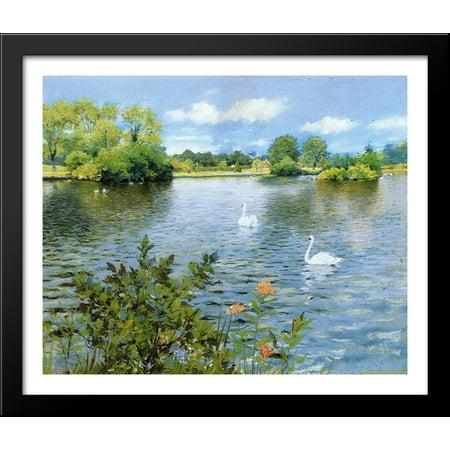 - A Long Island Lake 34x28 Large Black Wood Framed Print Art by William Merritt Chase