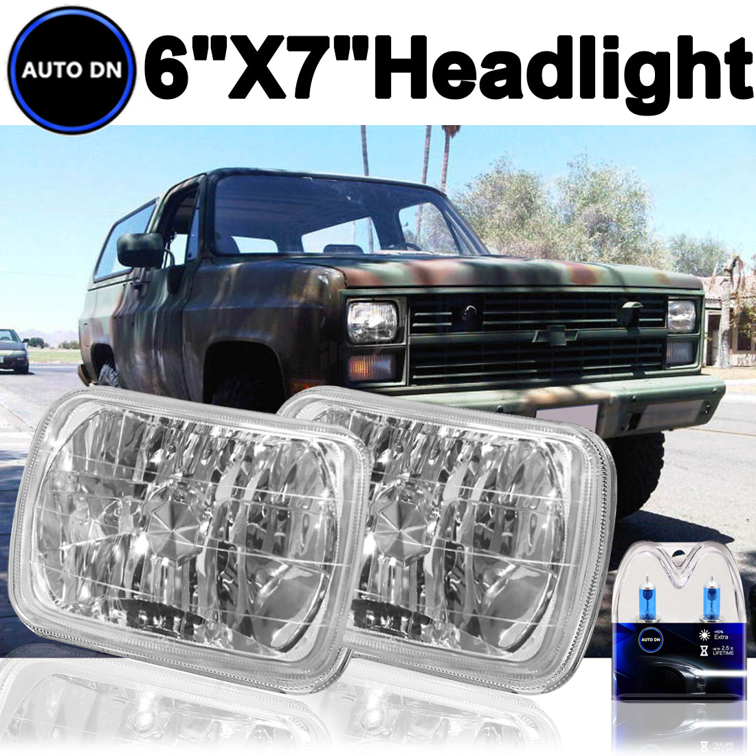 1set H4 Halogen Light Bulbs 7x6 Square Headlight 5000K Su...