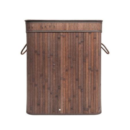 UBesGoo Bamboo Laundry Hamper Flip Type Folding Cloth Storage Basket Dirty Clothes Hamper Dark Brown
