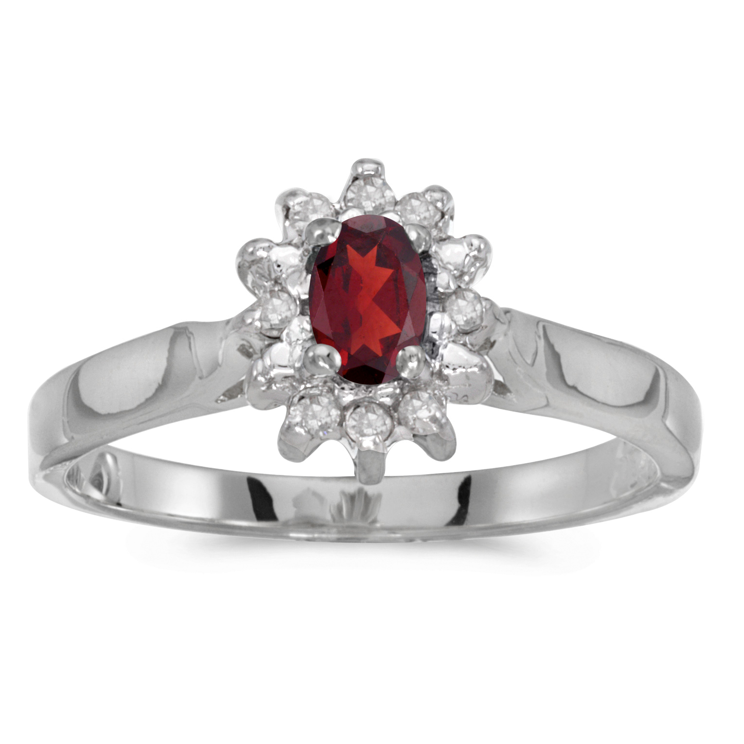14k White Gold Oval Garnet And Diamond Ring by