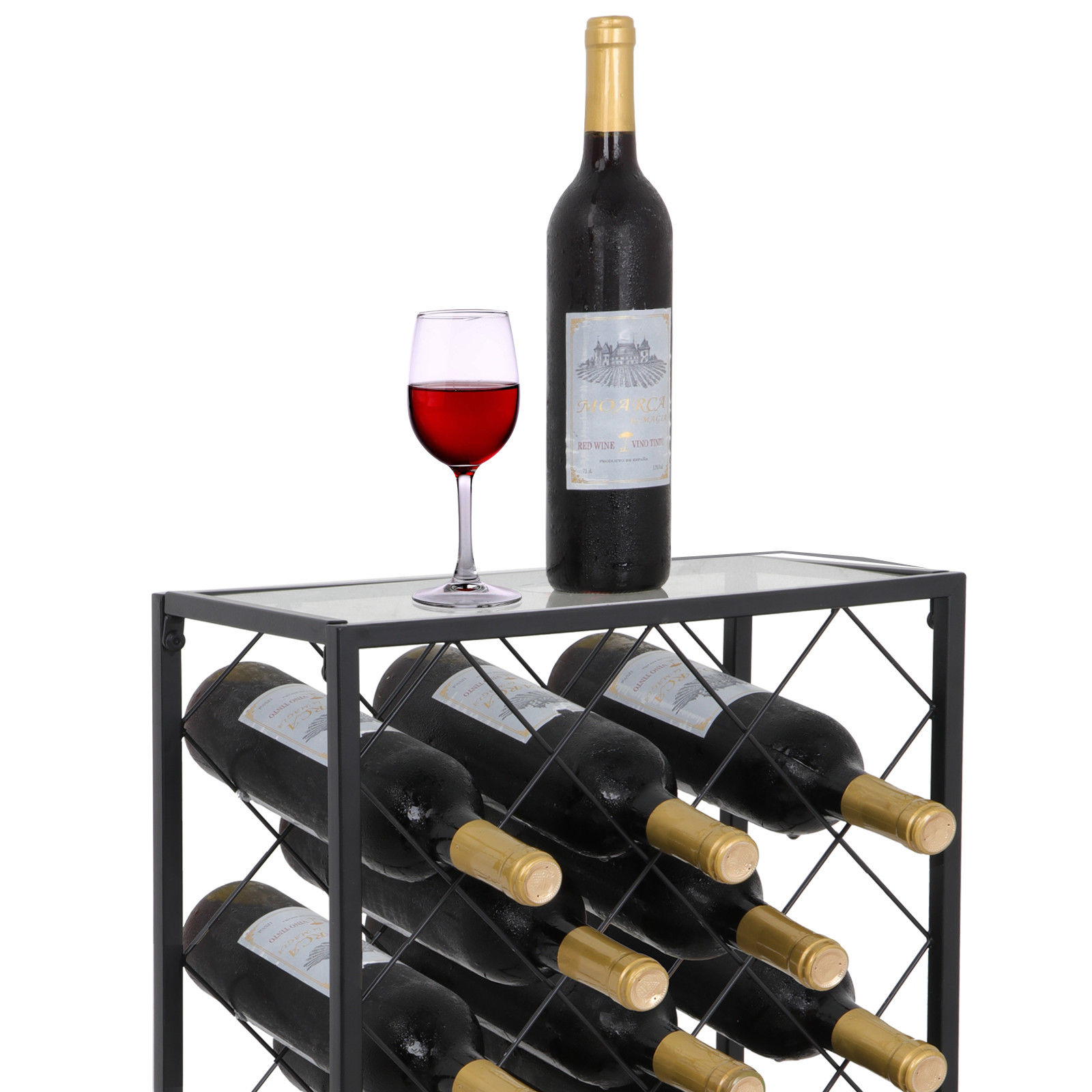 ZENY Mental  Wine Rack Display 23 Bottle Wine Storage Holder Stand with Glass Table Top