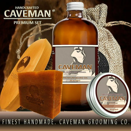 Caveman Beard Oil, Balm, Soap and Brush Kit - Leave in Conditioner Scent: Hunter Black