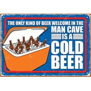 Tin Sign - Man Cave Cold Beer Metal Plate New Licensed Gift Toys 30034