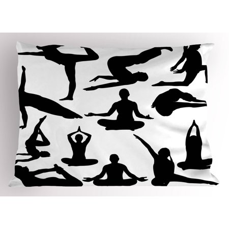 Hippie Women (Meditation Pillow Sham Yoga Postures Woman Body Relaxation Chakra Mystic Hobby Theme Hippie Print, Decorative Standard Queen Size Printed Pillowcase, 30 X 20 Inches, Black White, by)