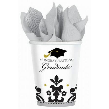 Graduation Cups (Graduation 'Black & White Grad' 9oz Paper Cups)
