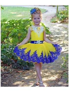 069d53a93 Product Image Triumph Dress Girls Yellow Royal Blue Lace Vlada Flower Girl  Dress