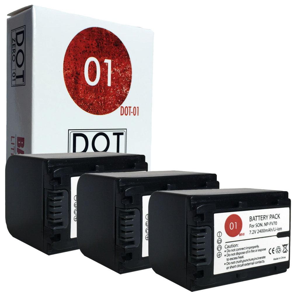 3x DOT-01 Brand 2400 mAh Replacement Sony NP-FV70 Batteri...