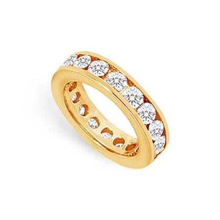Three Carat Cubic Zirconia Eternity Ring in 18K Yellow Gold Vermeil Third Wedding Anniversary Je - image 1 de 2