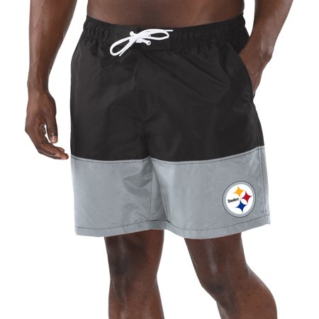 Pittsburgh Steelers G-III Sports by Carl Banks Anchor Volley Swim Trunks - Black/Gray