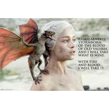 Game Of Thrones Got Daenerys Targaryen Fire Blood Hbo Tv Series Poster   18X12