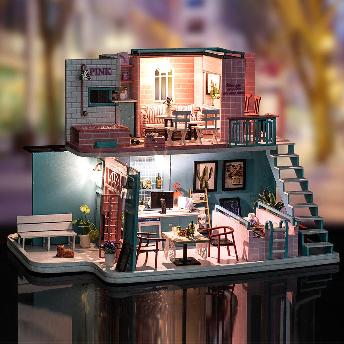 Mrosaa Doll House Miniature DIY Kit Dolls Toy House W/ Cafe House LED Light  Box Gift