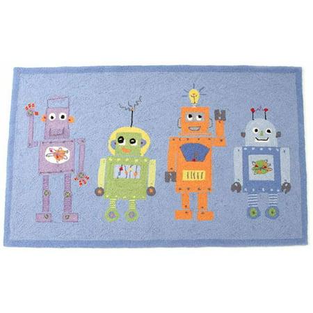 Little Acorn S11R06 Wool 4 Robots Rug