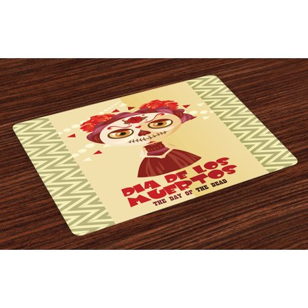 Day Of The Dead Placemats Set of 4 Spanish Dia de los Muertos Print Girl with Gothic Makeup Print, Washable Fabric Place Mats for Dining Room Kitchen Table Decor,Cream Burgundy and Red, by Ambesonne