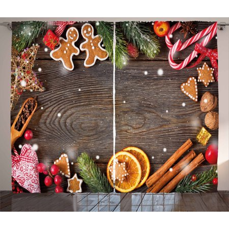 Gingerbread Man Curtains 2 Panels Set, Festive Christmas Frame with Spices Biscuits Elements on Table Art Print, Window Drapes for Living Room Bedroom, 108W X 96L Inches, Multicolor, by Ambesonne