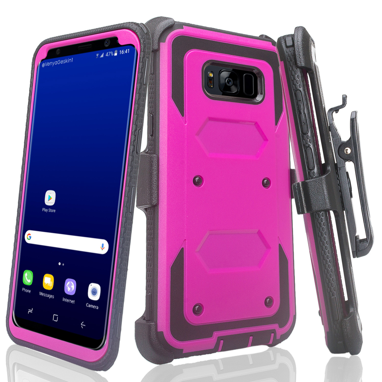 Samsung Galaxy S8 Plus Case, SM-G955 Case, Triple Protection + [Tempered Glass Screen Protector] Heavy Duty Rotating Swivel Holster Shell Combo - Purple