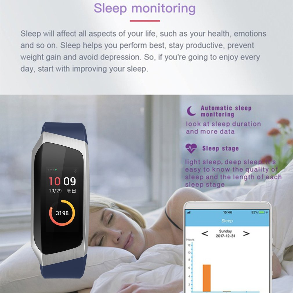 0.96 Inch Screen IP67 Smartband Blood Pressure Oxygen Heart Rate Monitor Band - image 1 de 10