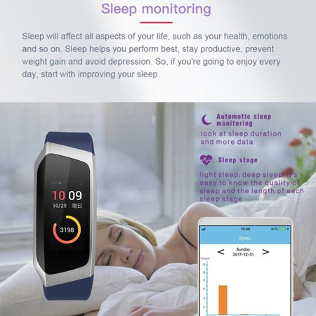 0 96 Inch Screen IP67 Smartband Blood Pressure Oxygen Heart Rate Monitor  Band