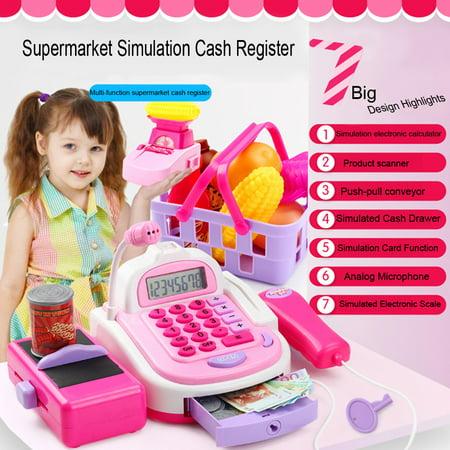 Iuhan Supermarket Cash Register Toy Pretend Holiday Birthday Gift