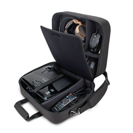 Projector Soft Carry Case (USA GEAR Video Projector Case, Large Carry Case for Projector Accessories - Compatible with DBPOWER, ViewSonic, Epson, BenQ, and More - Scratch-Resistant, Shoulder Strap and Customizable Dividers )