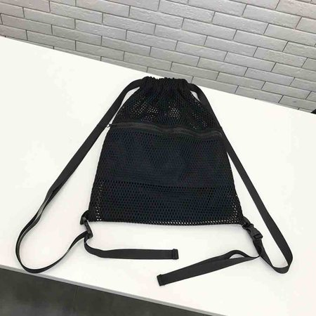 Unisex fashion Drawstring backpack mesh cloth pocket students backpack Sport Beach Bag (Mesh Pocket Drawstring Backpack)