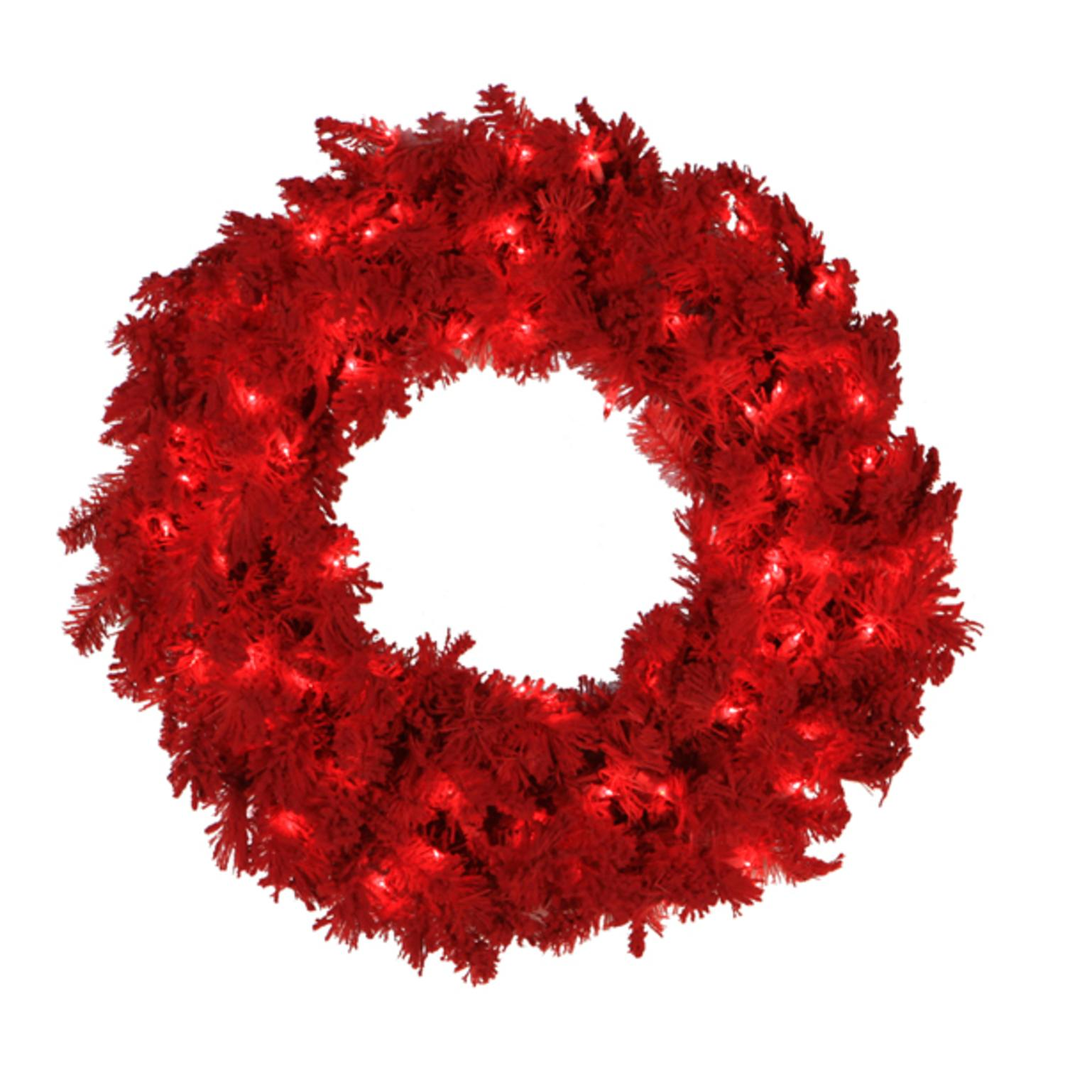 "24"" Pre-Lit Flocked Red Pine Artificial Christmas Wreath - Red Lights"