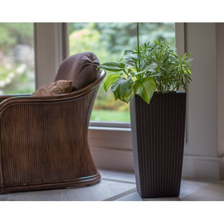 Algreen Wicker 22-In. Square Taper Planter, Self-Watering, Rattan Coffee ()