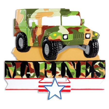 PERSONALIZED CHRISTMAS ORNAMENTS ARMED FORCES- MARINE HUMVEE