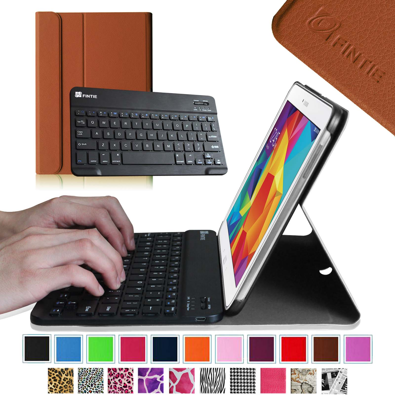 Fintie Samsung Galaxy Tab 4 10.1 inch Tablet Keyboard Case - Smart Cover w/ Detachable Bluetooth Keyboard, Brown