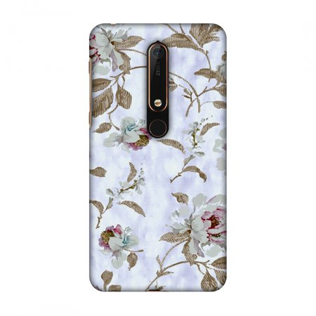 New Nokia 6 2018 Case - Textured roses- Lavender and pearl white, Hard Plastic Back Cover, Slim Profile Cute Printed Designer Snap on Case with Screen Cleaning Kit - Pearl Nokia Faceplates